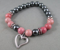 hematite and rhodonite heart bracelet