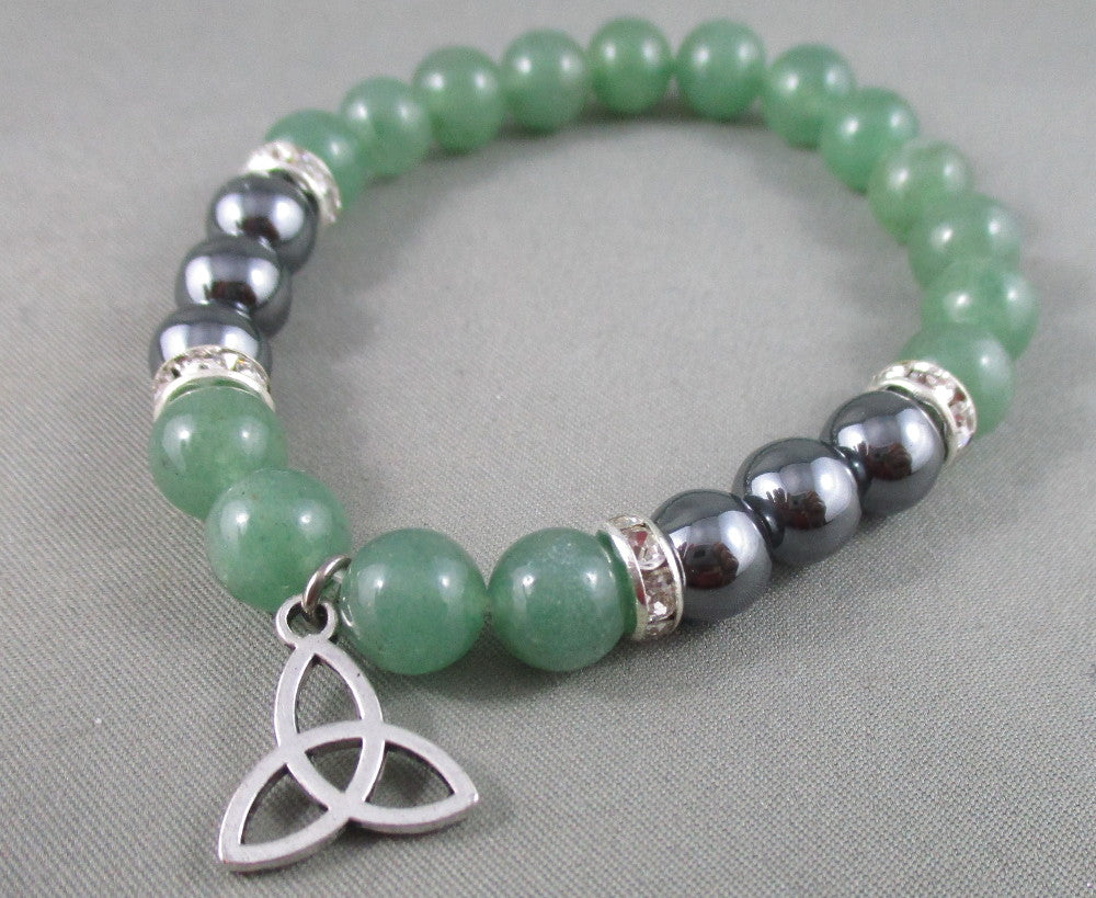 aventurine and hematite bracelet with trinity knot