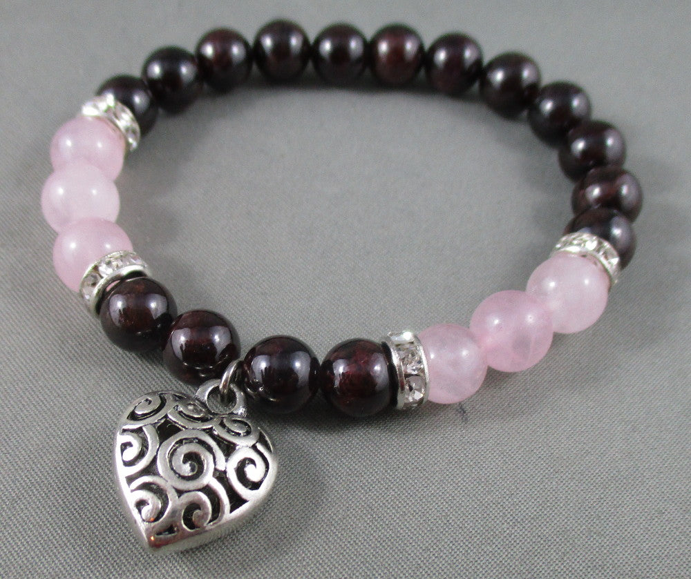 garnet and rose quartz bracelet with heart
