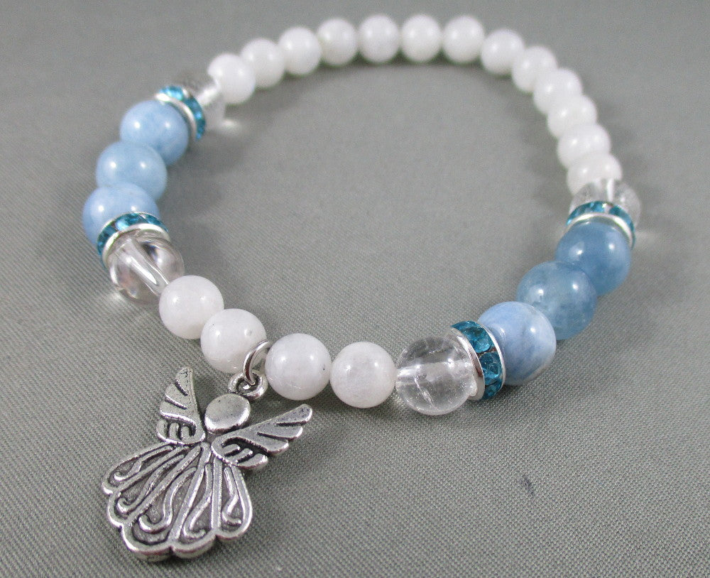 aquamarine quartz and moonstone angel wings bracelet