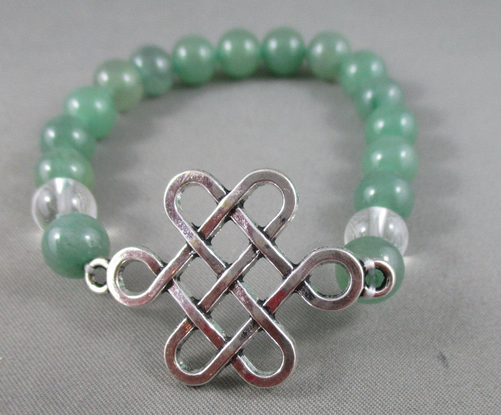 Aventurine / Quartz Bracelet with Celtic Knot Charm 1pc T541