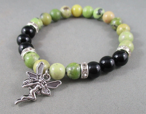 onyx and serpentine bracelet with fairy charm