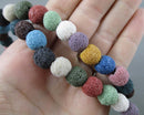 Rainbow Lava Beads Round Frosted Various Sizes