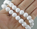 "White Lava Beads Round Frosted 8mm 15"" Strand (2021)"