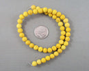 "Yellow Lava Beads Round Frosted 8mm 15"" Strand (0854)"