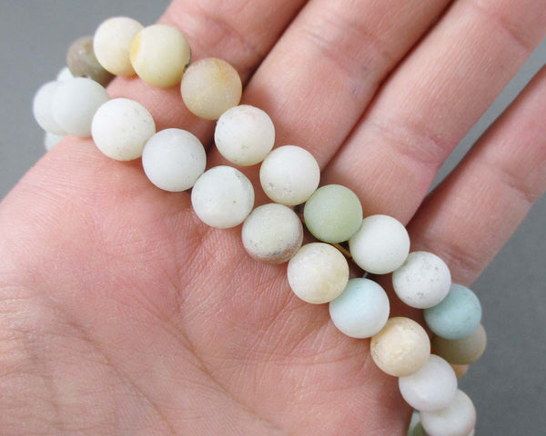 Amazonite Bead Strand Frosted Round Various Sizes