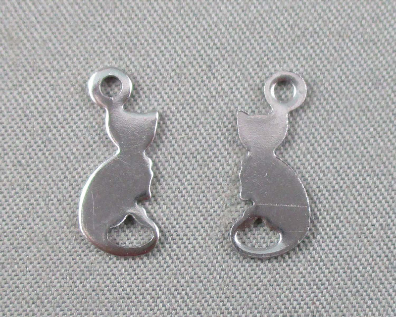 Cat Charms Stainless Steel 10pcs 13x6mm  (0722)