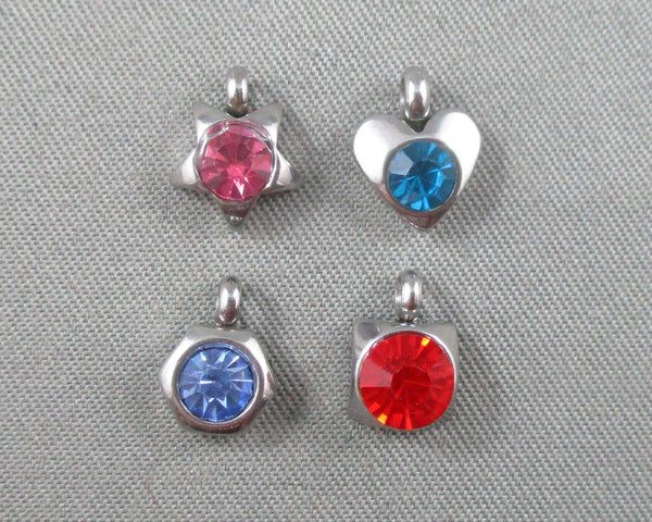 Mixed Shape Charms with Rhinestone Stainless Steel 5pcs 5-8mm  (0324)