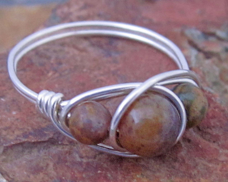 jasper wire wrapped ring