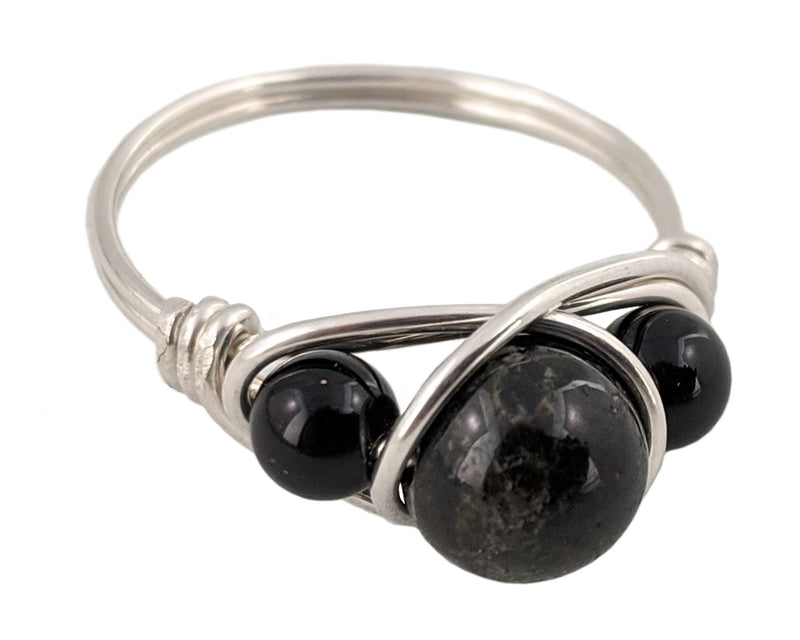 black tourmaline wire wrapped ring