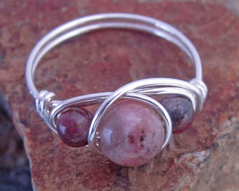 pink tourmaline wire wrapped ring
