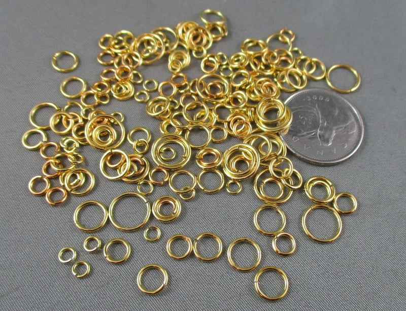 Jump Rings Gold Tone Various Sizes