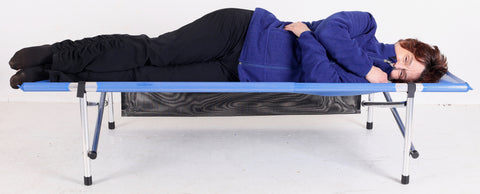 "NEW: 67""Long x 28""Wide x 15""High Roll-a-Cot®,  in blue mesh"
