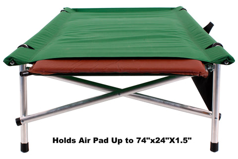 "Green Wide Ibex Roll-a-Cot ® 74""L x 32""W x 15""H with sleeve for your air mattress"