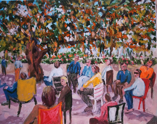 Acrylic painting Dunedin, Florida of people at a fair