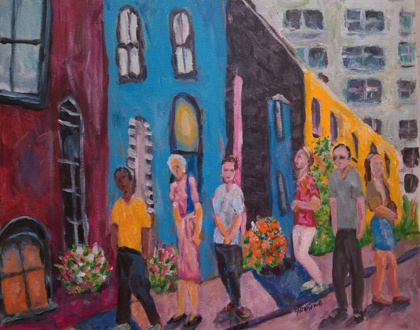 Acrylic painting Impressionist scene with people