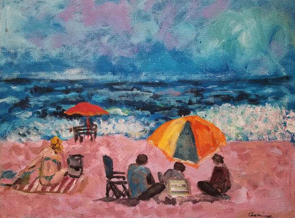 Acrylic painting people at the shore