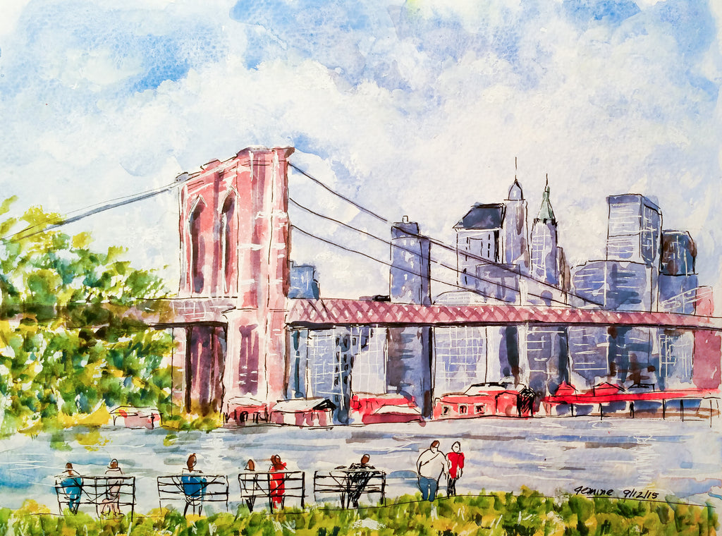 Brooklyn Bridge watercolor