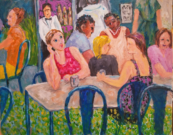 Acrylic painting of people, cafe in NYC