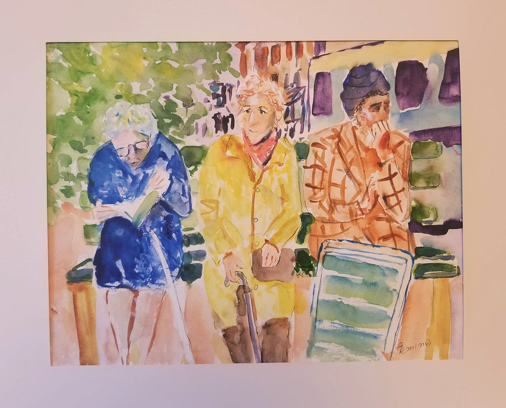 Original water color figures by Lucille Femine