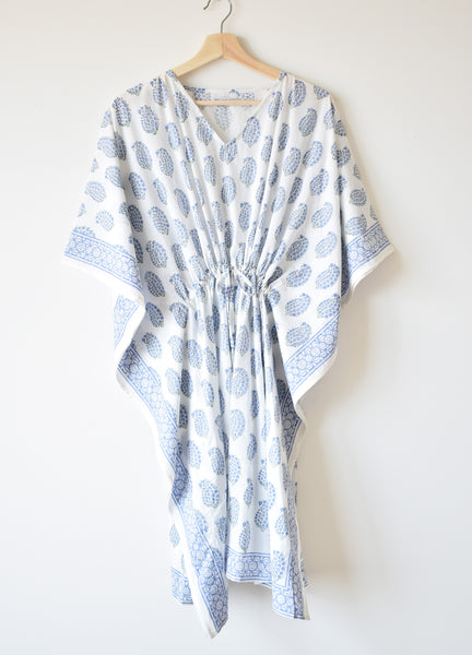 Blue Paisley Kaftan Dress