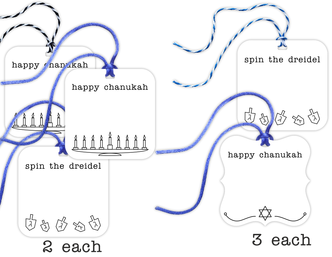chanukah gift tags, 12-pack - the gifted tag