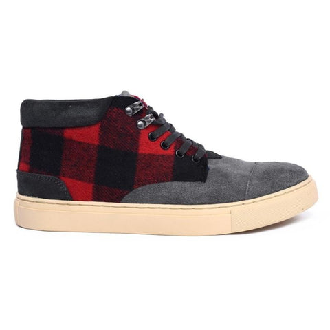 SNEAKER - RACO MID RED PLAID/NAVYBLUE/BLACK 16