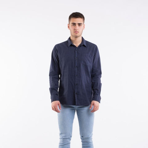 Breeze Linen Ls Shirt Navy