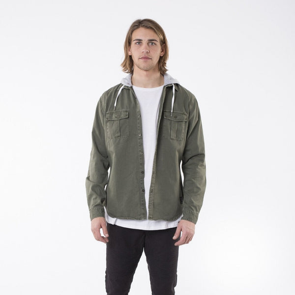Kent L/S Hooded Shirt Khak