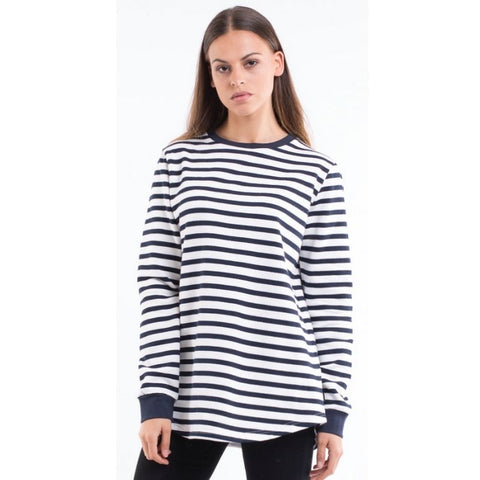 Classic Stripe Crew White And Navy Stripe
