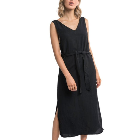 Breeze Linen Dress Black