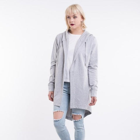 Ashleigh Hooded Cardi Grey Marle
