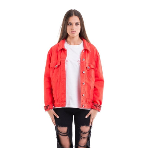 Boyfriend Denim Jacket Red