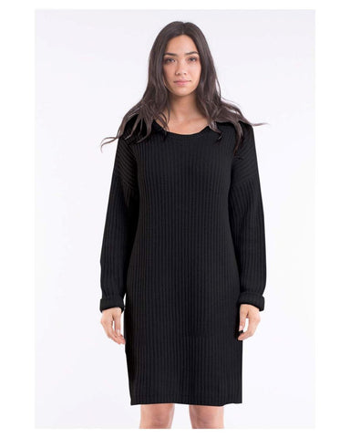 Bella Knitted Jumper Dress Black