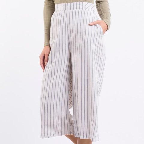 Aria Wide Leg Culotte Vintage White & Dark Blue Stripe