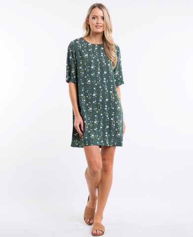 Botanical Shift Dress Jungle Green Botanical Print