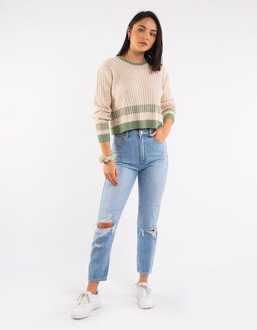 Borderline Knit Jumper Cream/Sage