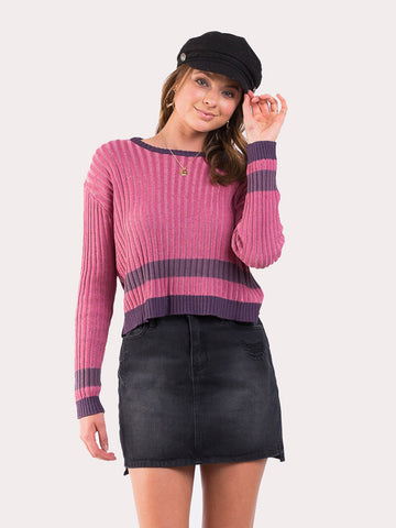 Borderline Knit Jumper Rouge/Berry