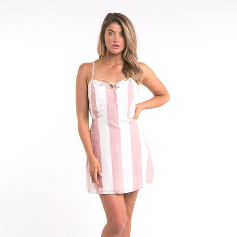 90'S Tie Up Dress Pink & White Stripe