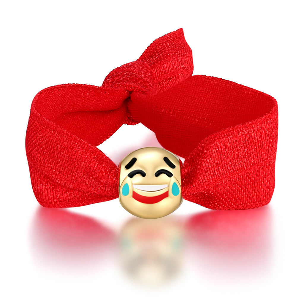 Laughing With Tears Charm Emoji Ribbon Pony Tail Ties By Emoji Bracelet