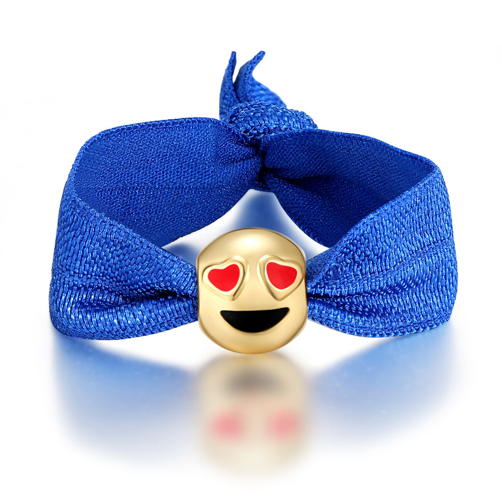 Heart Eyes Emoji Ribbon Pony Tail Ties By Emoji Bracelet