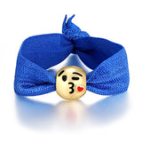 Kissy Face Emoji Ribbon Pony Tail Ties By Emoji Bracelet