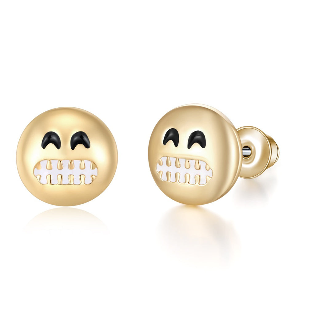 Grinning Emoji Earrings By Emoji Bracelet