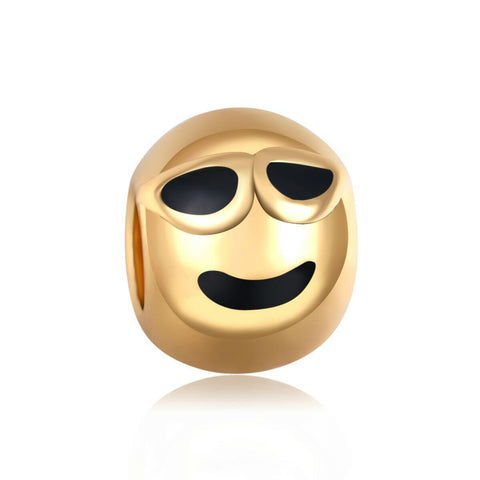 14k Gold Plated Relieved Emoji Charm By Emoji Bracelet