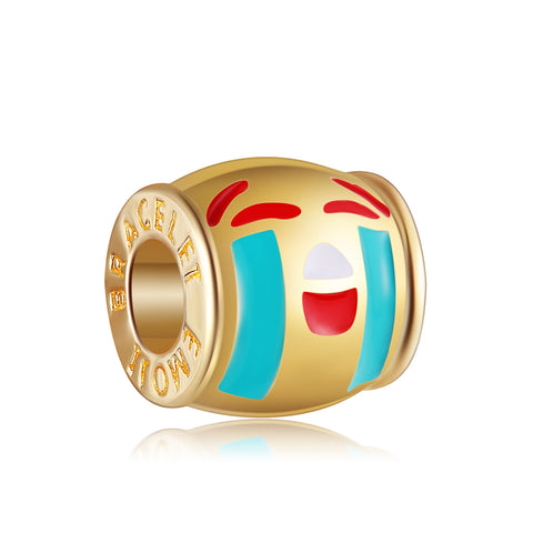 18k Gold Color Embarrassed Emoji By Emoji Bracelet