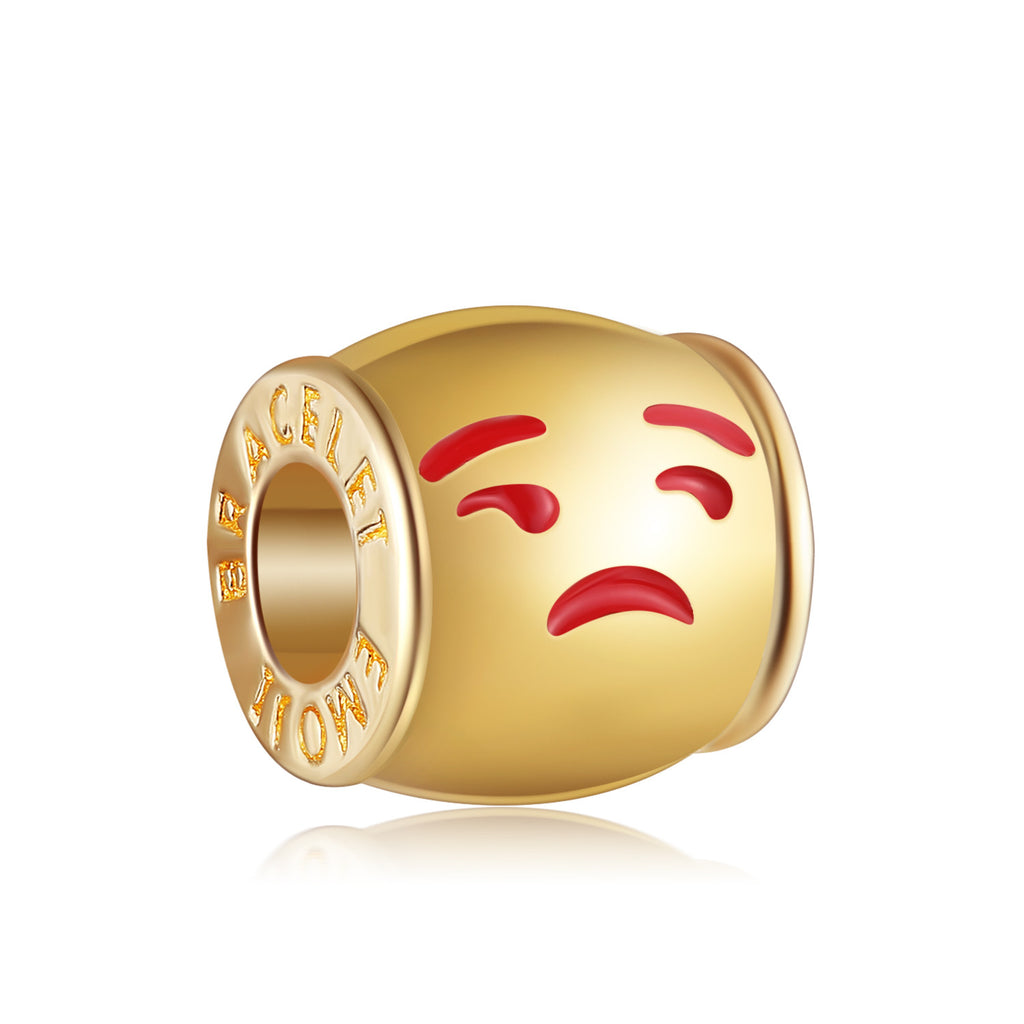 14k Gold Plated Unamused Emoji Charm By Emoji Bracelet