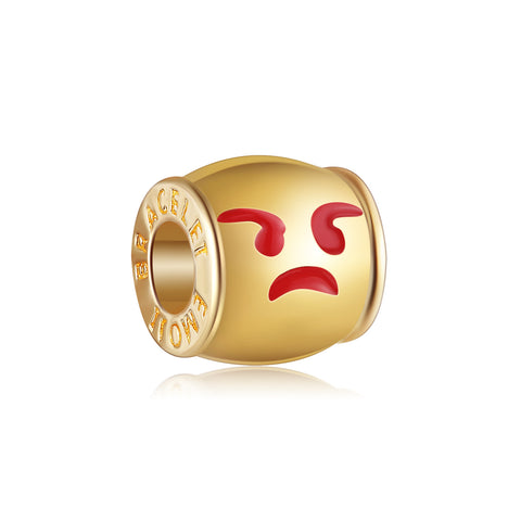 18k Gold Color Huffing with Anger Emoji Charm By Emoji Bracelet
