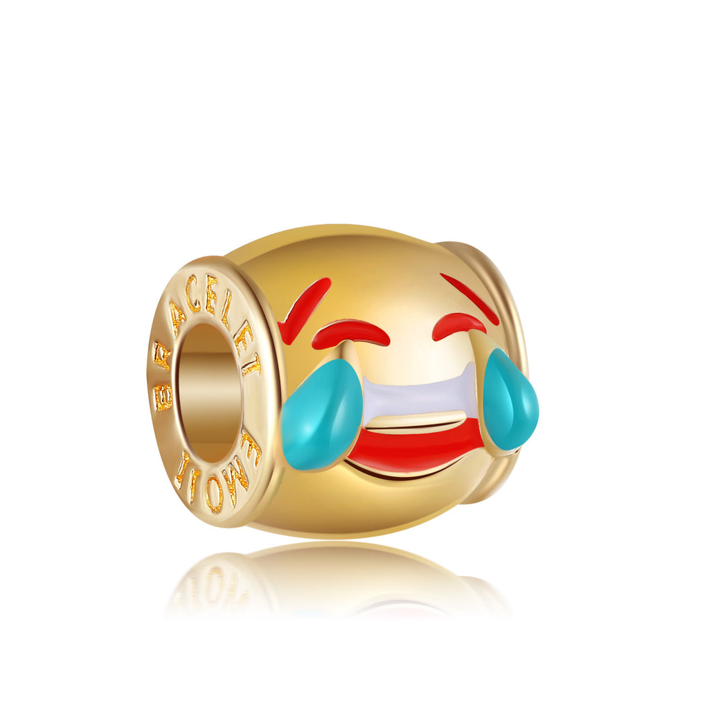 14k Gold Plated Laughing With Tears Of Joy Emoji Charm By Emoji Bracelet
