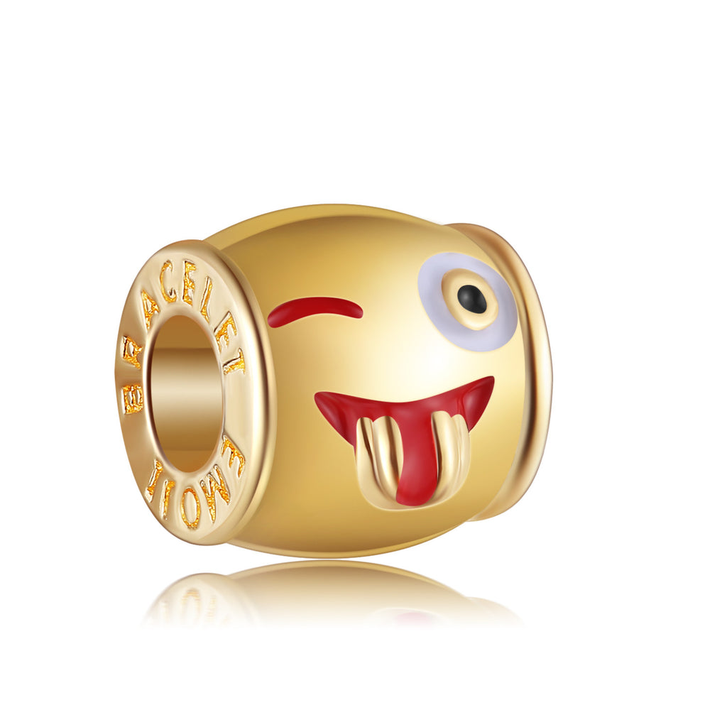 14k Gold Plated Crazy Emoji Charm By Emoji Bracelet