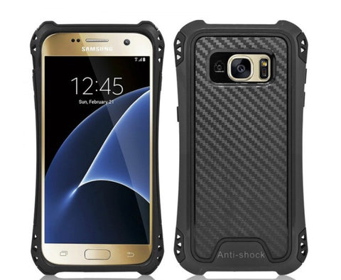 SAMSUNG GALAXY S7 EDGE HYBRID BUMPER SHOCKPROOF TOUGH CASE COVER BLACK